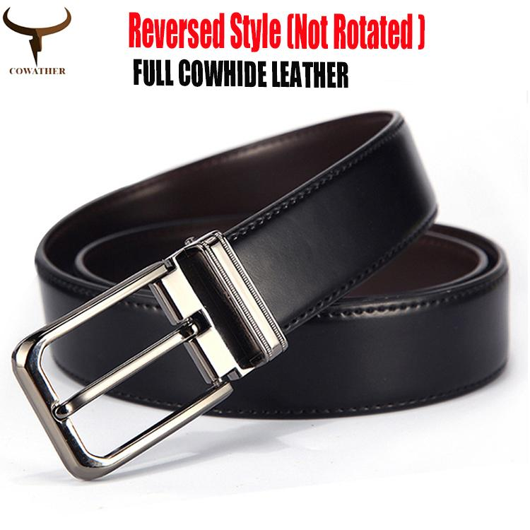 Cowather Mens Dress Belt 100% Cow Leather Belts For Men Reversible 1.25 Wide Pin Rotated Buckle Waist Belts, Trims To Cut By Eagowee Store.