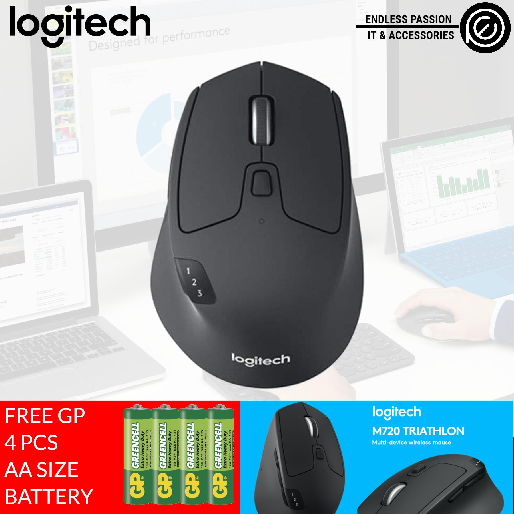 Logitech M720 Triathalon Multi-Device Wireless Mouse with FLOW Cross-Computer Control and File Sharing for PC and Mac