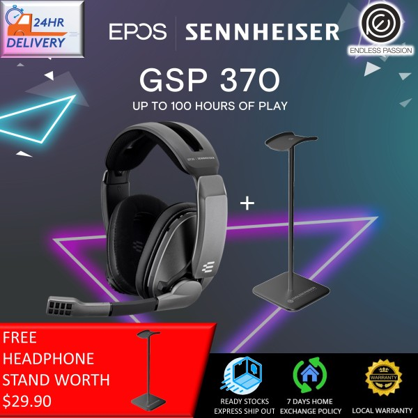 EPOS Sennheiser GSP 370 Over-Ear Wireless Gaming Headset, Low-Latency, Noise-Cancelling Mic, Flip-to-Mute, Audio Presets - PC, Mac, Windows, and PS4 Compatible - Black [FREE Headphone Stand + 24 Hours Delivery]
