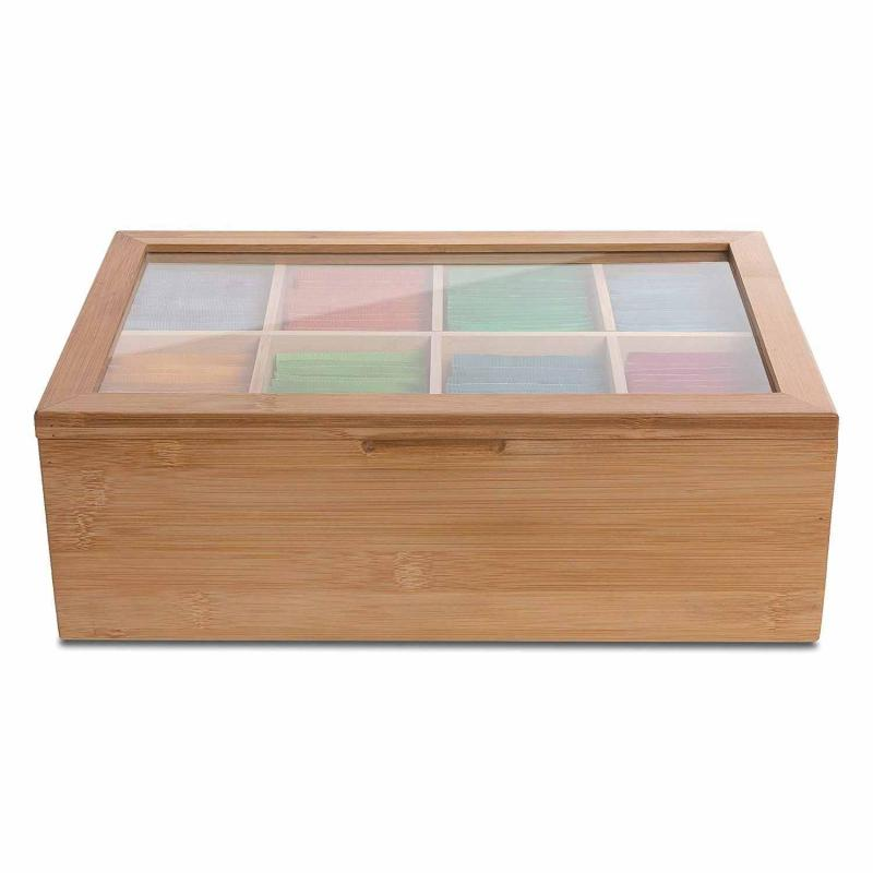 Bamboo Tea Box Storage Organizer,Taller Size Holds 120+ Standing Or Flat Tea Bags,8 Adjustable Chest Compartments Singapore