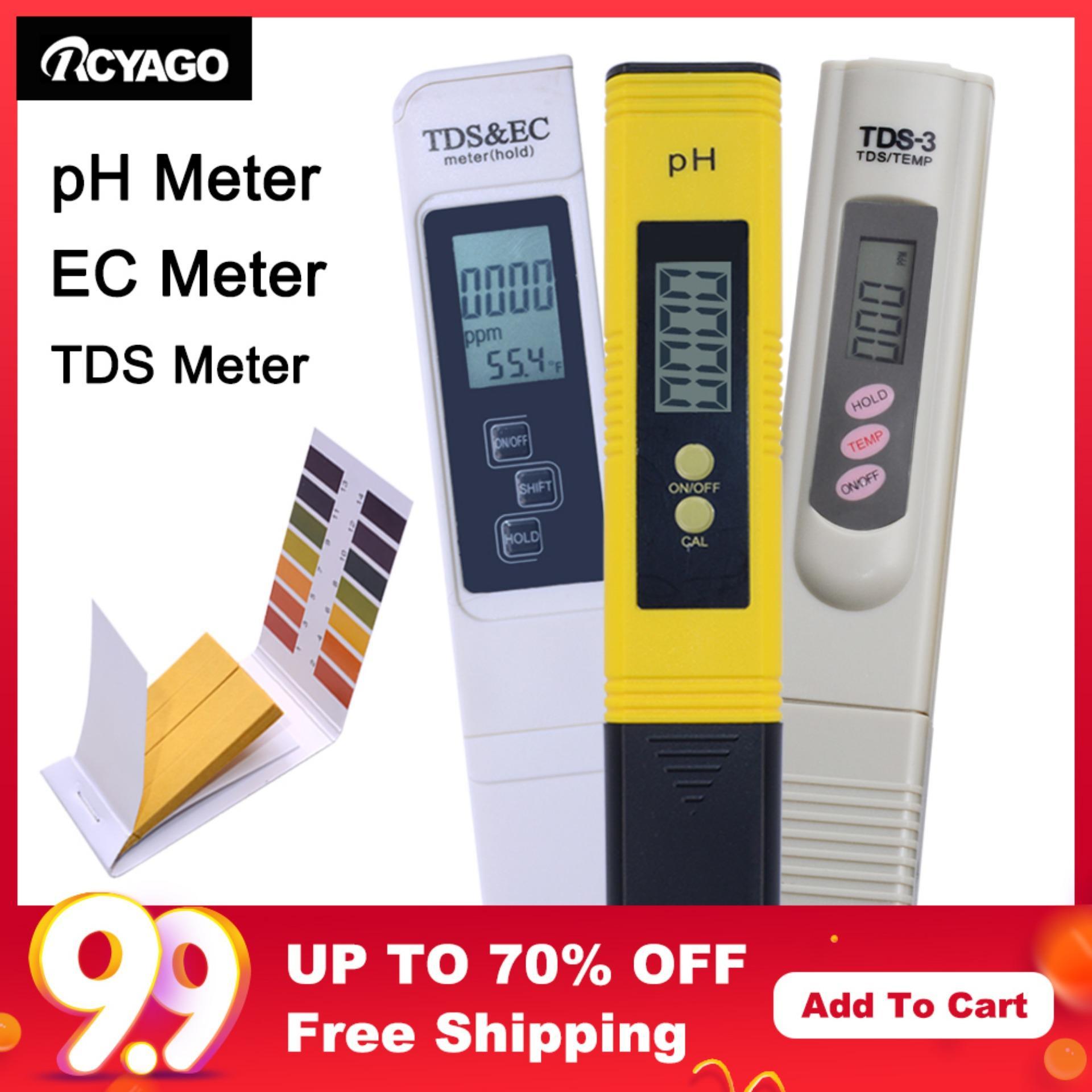 RCYAGO 1pcs pH meter+1pcs TDS&TEMP Meter+1pcs TDS&EC Meter Water Quality Tester Pen