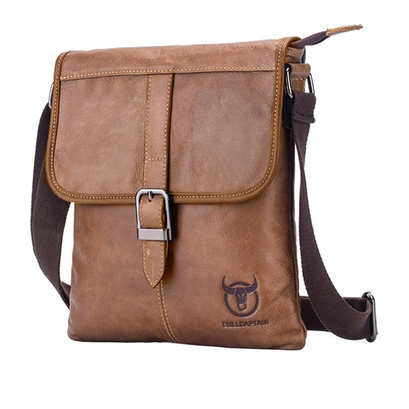 BULLCAPTAIN Mens Bag Genuine Leather Man Bag New Shoulder Bag Crossbody Small Mens Bags Mens Business Bag Messenger Bag Leather Handbags(brown)