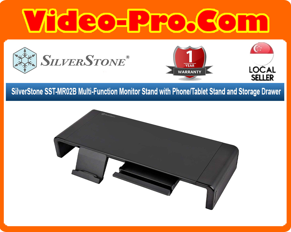 SilverStone SST-MR02B Multi-Function Monitor Stand with Phone/Tablet Stand and Storage Drawer