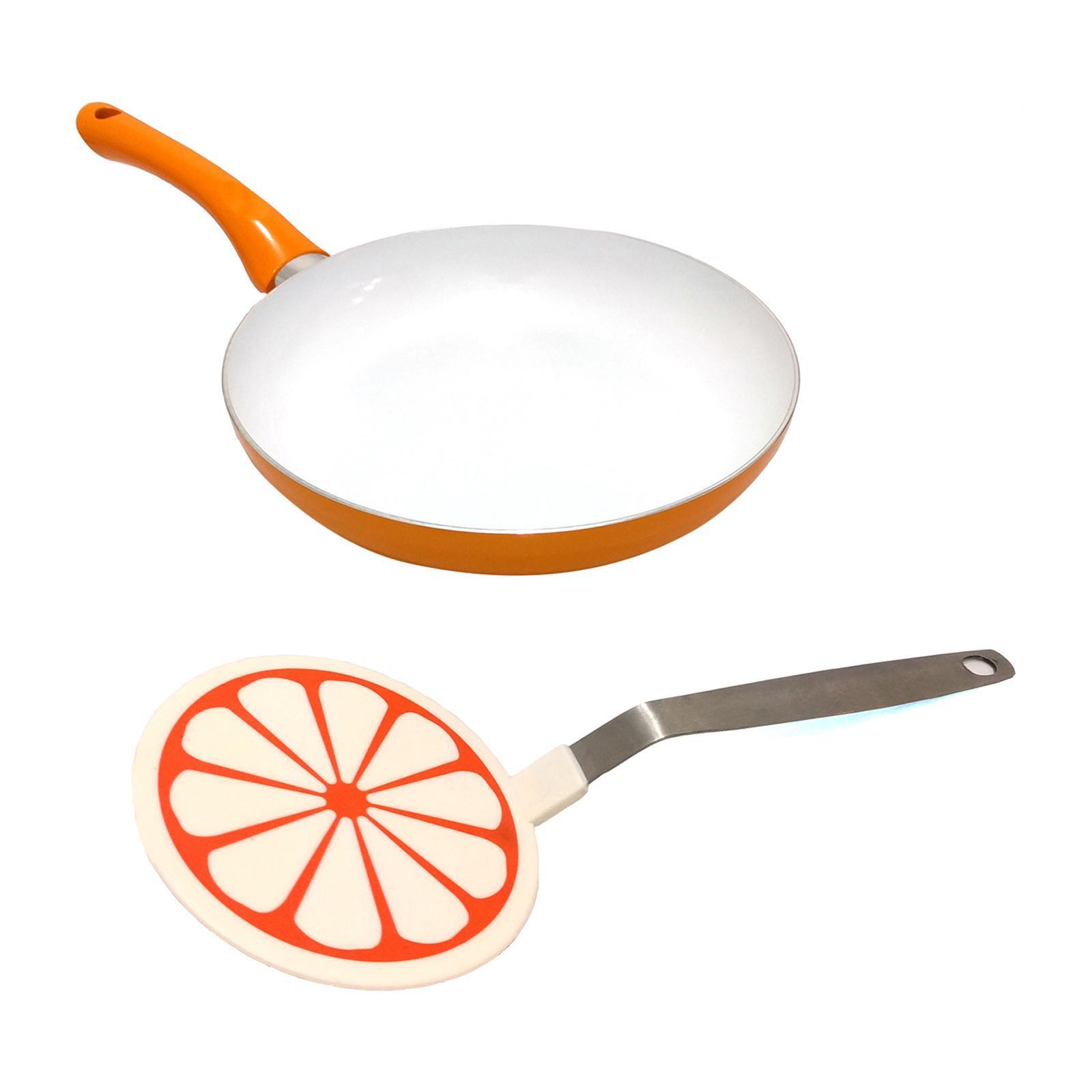 Amark Chef Delight Floral Non-Stick Ceramic Frying Pan 24cm (Orange) - Cookware