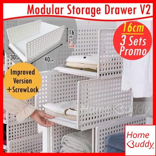 Storage Box_ Modular Storage Drawer Version2 [Improved Version with ScrewLock] [Modular Retractable Stackable]_ READY Stocks SG_ HomeBuddy_ Acev Pacific_ wardrobe organizer_ wardrobe drawer_ wardrobe box_ wardrobe rack_ cabinet organizer_ cabinet drawer