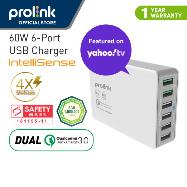 [3 pin plug] Prolink PDC66001 60W 6-Port Desktop Charger with IntelliSense with Dual Quick Charge port (Charge 4X FASTER) - Charge smartphones and tablets only