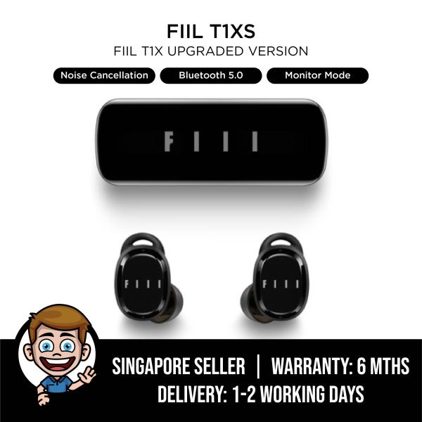 FIIL T1XS Wireless Earbuds, FIIL T1 XS Bluetooth 5.0 TWS Earphones Music/Video/Game Mode Monitor Mode Dual Mic Noise Cancellation Wear Detection AAC/SBC Type-C IPX5, FIIL T1X Upgrade - Black Singapore