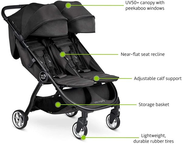 Baby Jogger City Tour 2 Double Two Newborn Baby Infant to Child Children Kids Twin Double Seat Seater Stroller, Jet Black Singapore
