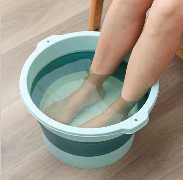 Buy Hicus collapsible pail with massage foldable bubble bucket pail  foot bath convenience Singapore