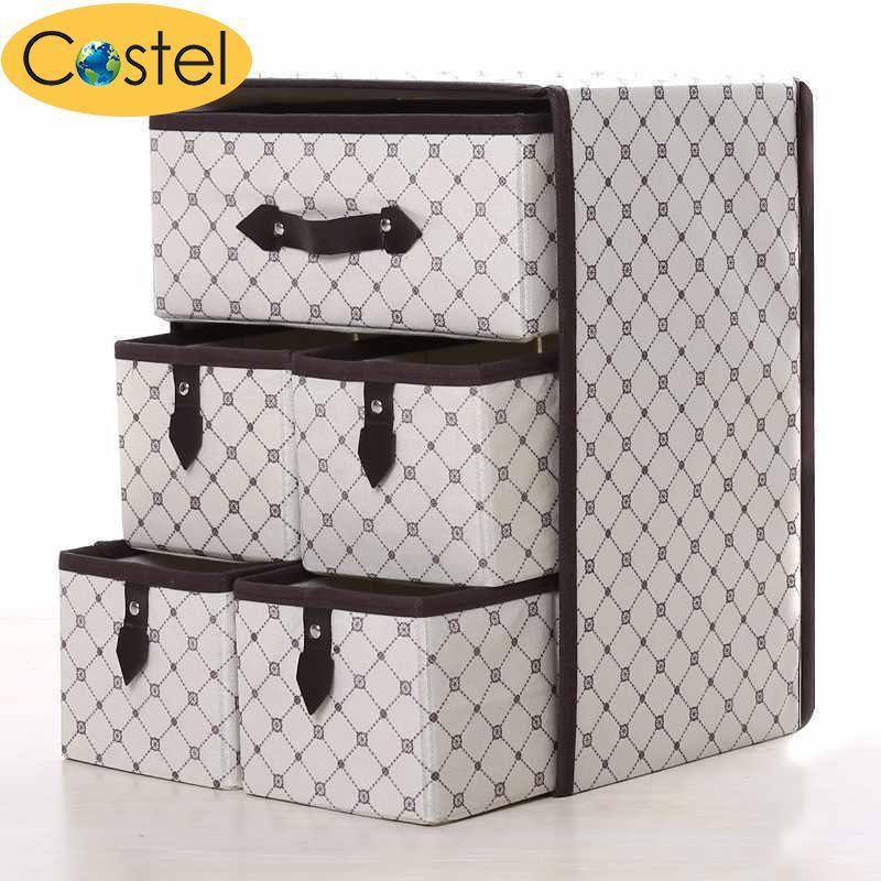 Multi-Function Thicken Non-woven Fabric Folding Make Up Cosmetic Storage box - intl