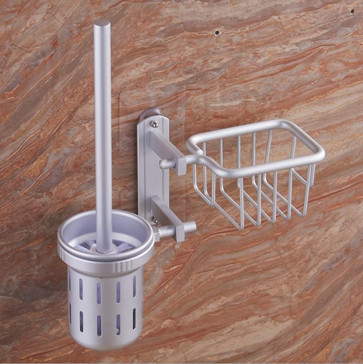 Sleek and Stylish Toilet Brush Holder Aluminium Body - Holding On Stickers - No Nails / No Screws