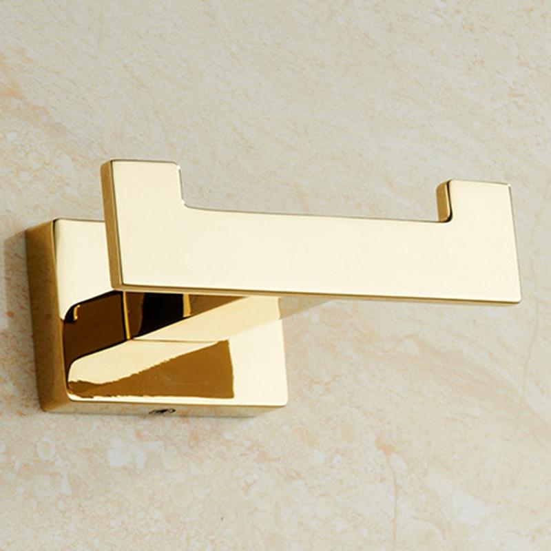 2PCS Gold Robe Hook Bathroom Hangings Hook Double Zinc Home Bathroom Decoration Accessories