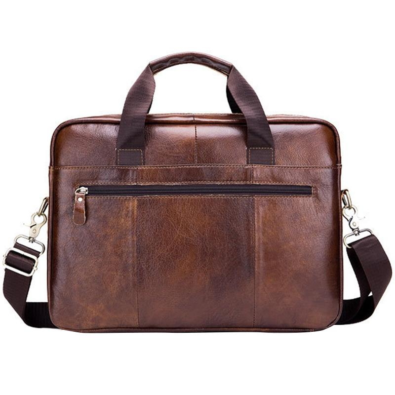 BULLCAPTAIN Genuine Leather MenS Briefcase Vintage Business Computer Bag Fashion Messenger Bags Man Shoulder Bag Postman Male Handbags Brown