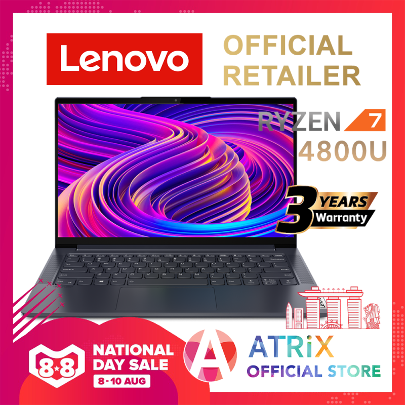 【Same Day Delivery】Lenovo Yoga Slim 7 Ryzen7 4800U(8 cores,16 threads, max 4.2Ghz)   14inch FHD 300nits   16GB DDR4X-4266   512GB SSD NVMe 3.0x4   WIFI6 AX   AMD Radeon Graphics   60.7Wh Battery   3Yrs Lenovo Onsite Warranty