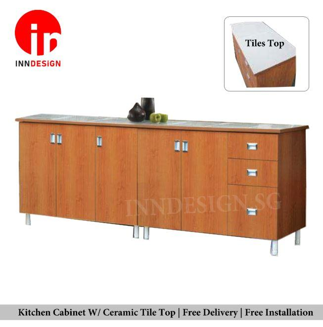 Emily Kitchen Cabinet (W/ Ceramic Table Top)