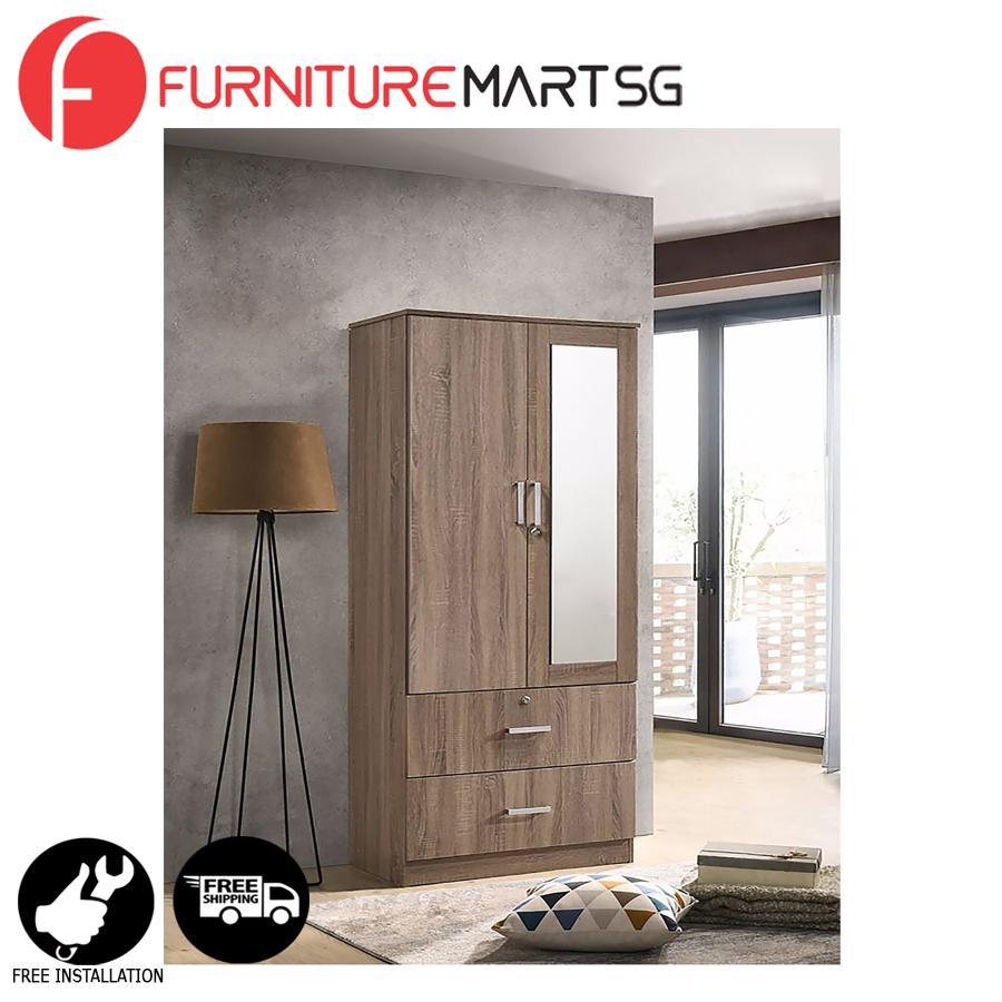 [FurnitureMartSG] BRITIAN-2M Door Wardrobe with Mirror _FREE DELIVERY + FREE INSTALLATION