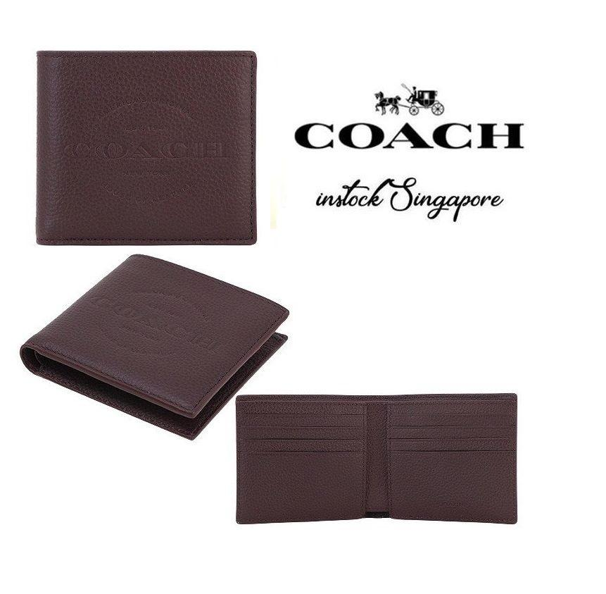 Coach Double Billfold Wallet  Black full leather F24647 brown