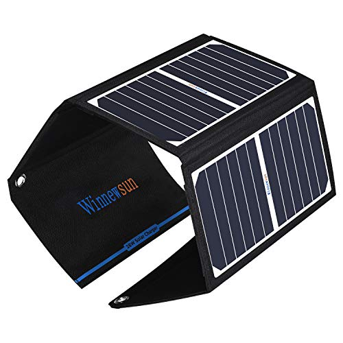 Winnewsun 28W Solar Charger Foldable Waterproof Solar Battery Charger with SunPower Solar Panel for Cell Phones