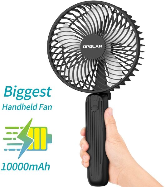 OPOLAR Biggest Handheld Fan with Superpower Battery (10000mAh), Portable Battery Operated Travel Fan, Powerful Airflow, Last 10-40 hrs, Foldable as Desktop Fan, For Indoor & Outdoor Use-6inch
