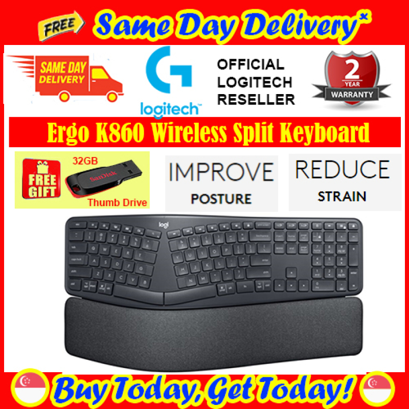 [Free Same Day Delivery + Free 32GB Thumb Drive *] Logitech Ergo K860 Wireless Split Keyboard 920-010111 (*Order Before 2pm on working day,  will deliver the same day,  Order after 2pm, will deliver next working day.) Singapore