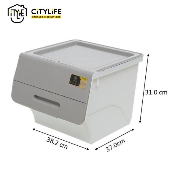 [BUNDLE OF 4]-Citylife Stackable Storage Box with Front Opening 35L