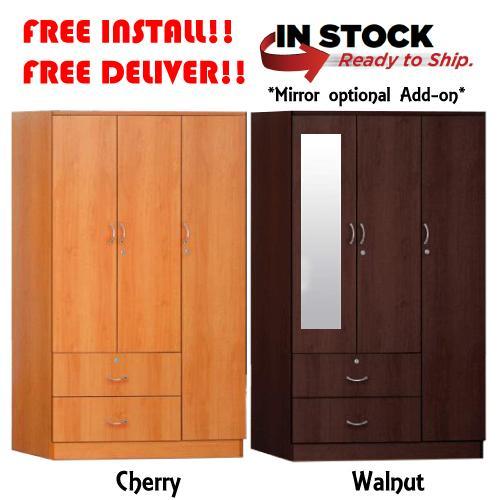[Furniture Amart] 3 Door Wardrobe cabinet Open Door Standalone organizer with locks