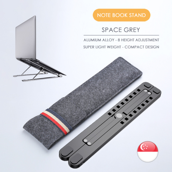 Foldable Aluminium Alloy Laptop/Computer/Notebook/Ipad Stands, Free Pouch, Portable Adjustable Holder for 14-17.3 Inch MacBook & Notebook, Can fit-into Any Computer Bag, Two Colors Available - Silver and Space Grey