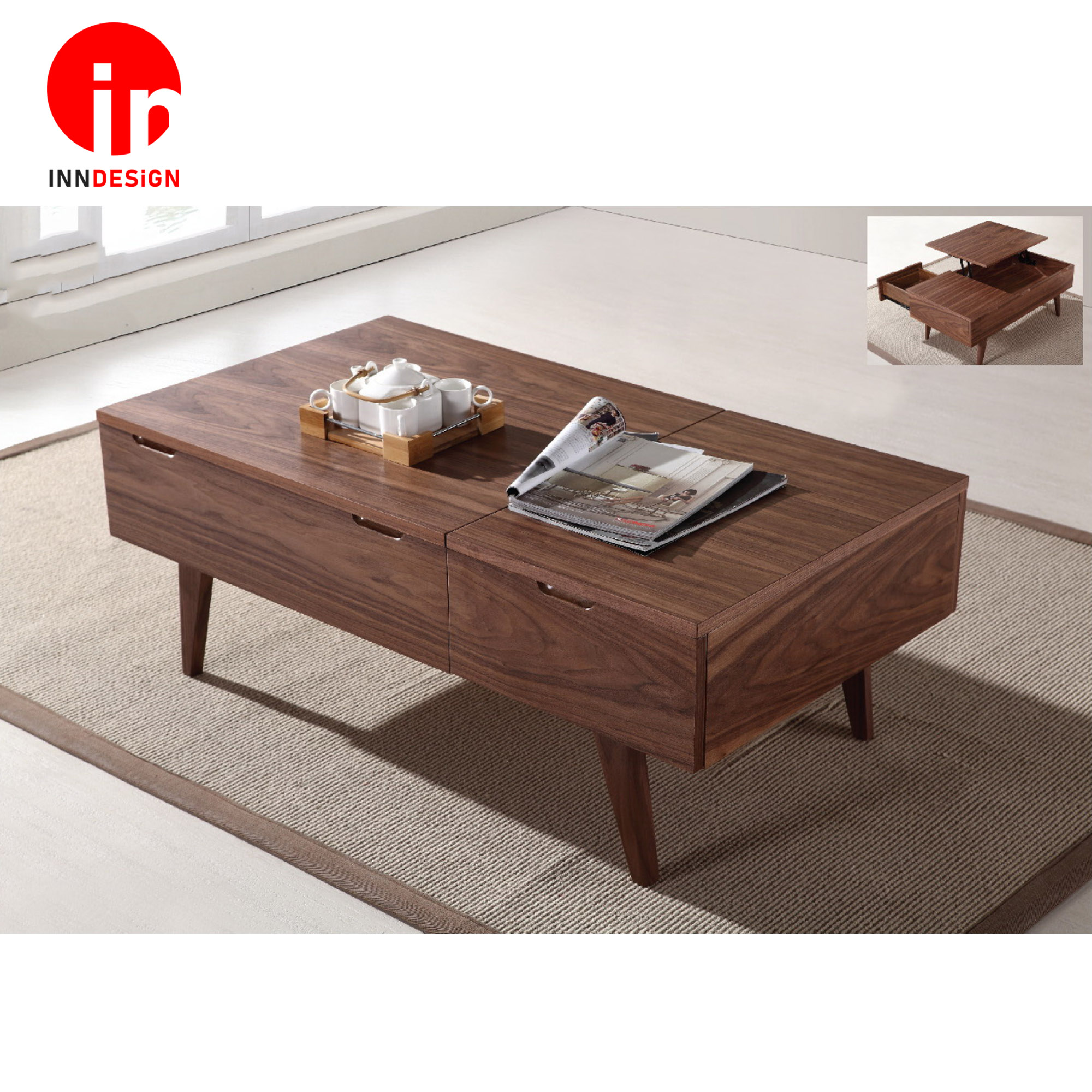 Lovene Lift-Up Solid Wood Coffee Table (Free Delivery and Installation)