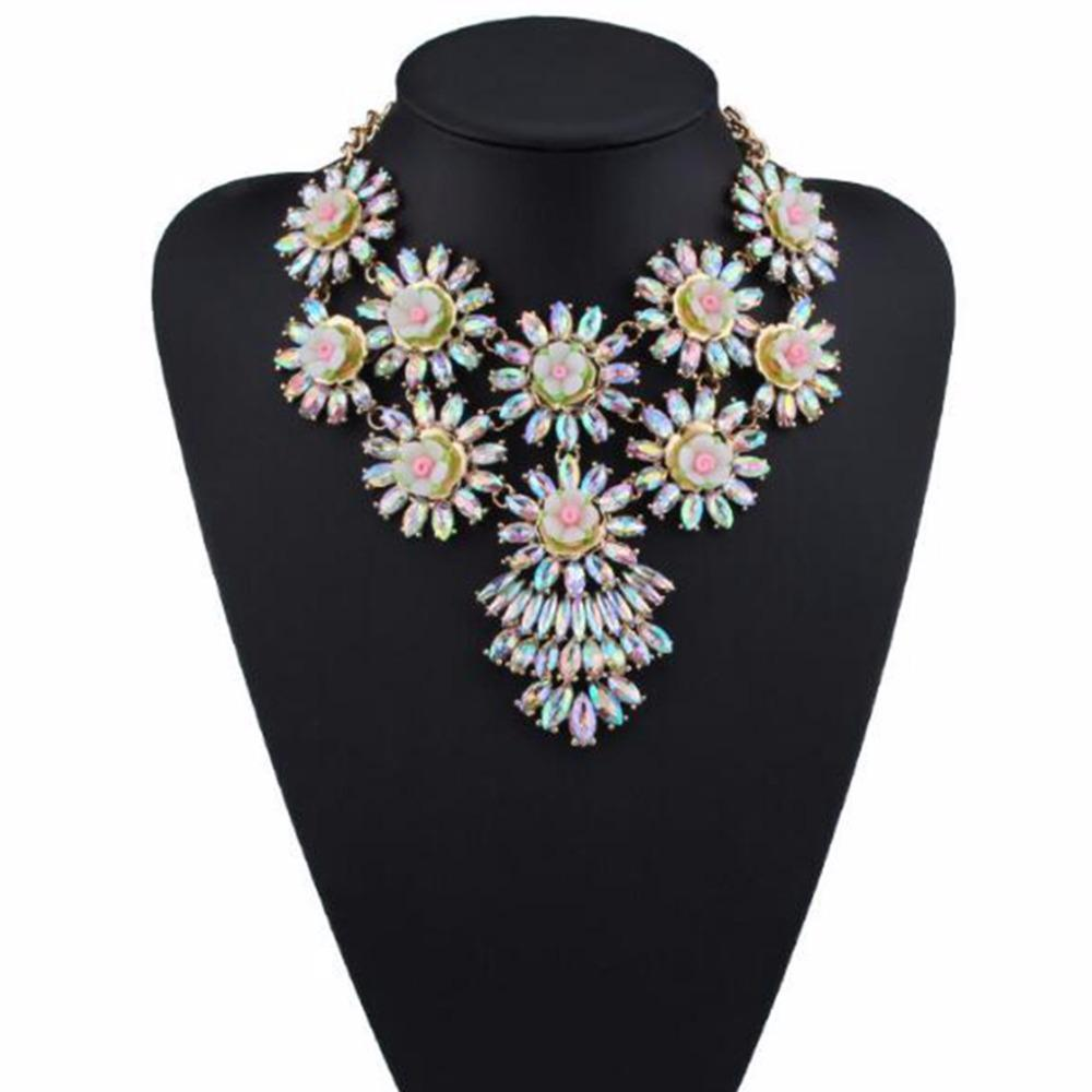 a70c900408e6e DiLiCa Gorgeous Crystal Bib Statement Necklace For Women Vintage Acrylic  Flower Charms Chokers Necklace Pendant Costume Jewelry