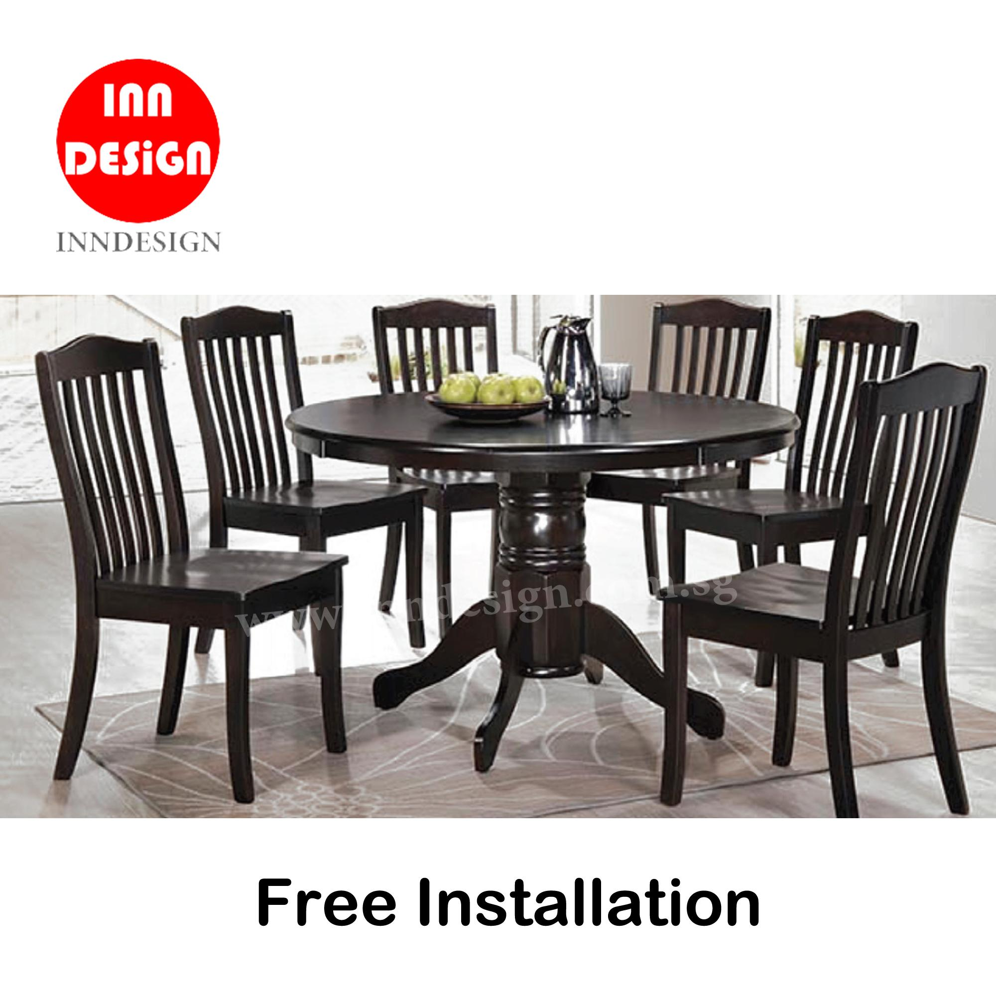 Edian 1+6 Dining Set (Solid Wood) (Free Delivery and Installation)