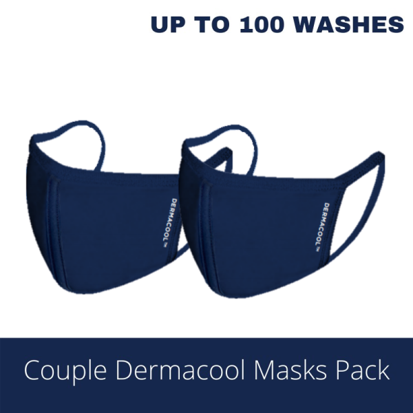 Buy [COUPLE PACK] [Bundle of 2] Adults (M Size) Dermacool Reusable 3-Ply Sports Masks [Aurigamart Authorized Distributor] Singapore