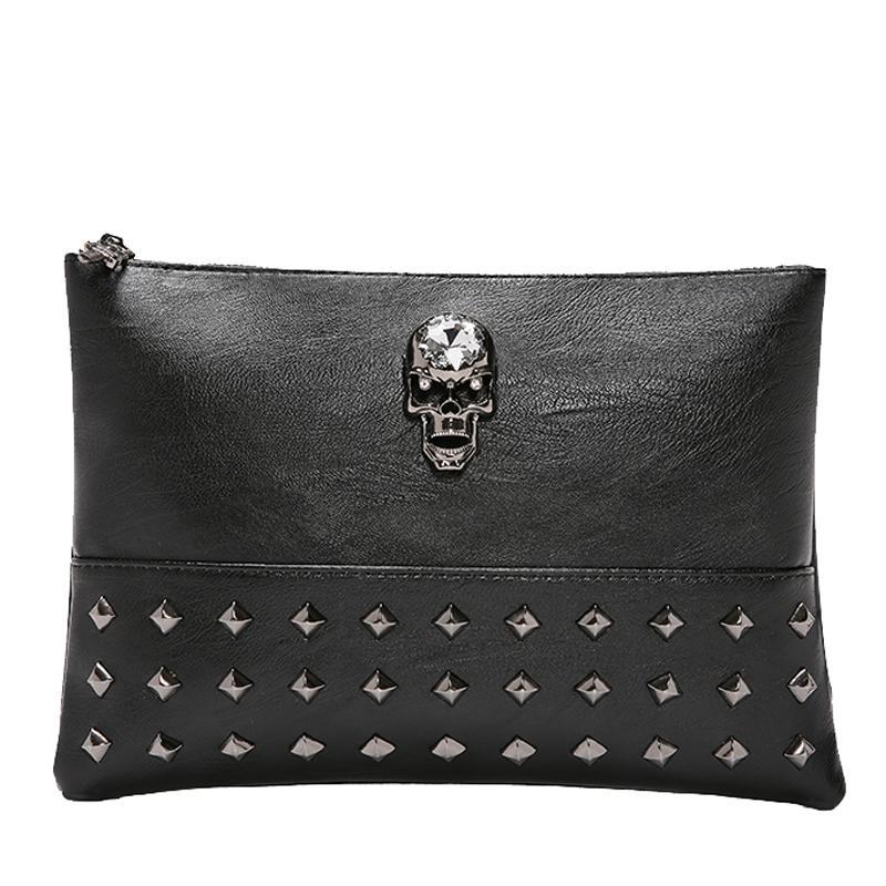 Skull Necklace Pattern Handbag shi shang nan nv Handbag Korean Style Street Rivet Clutch Couples Wrist Wrap IPAD Package