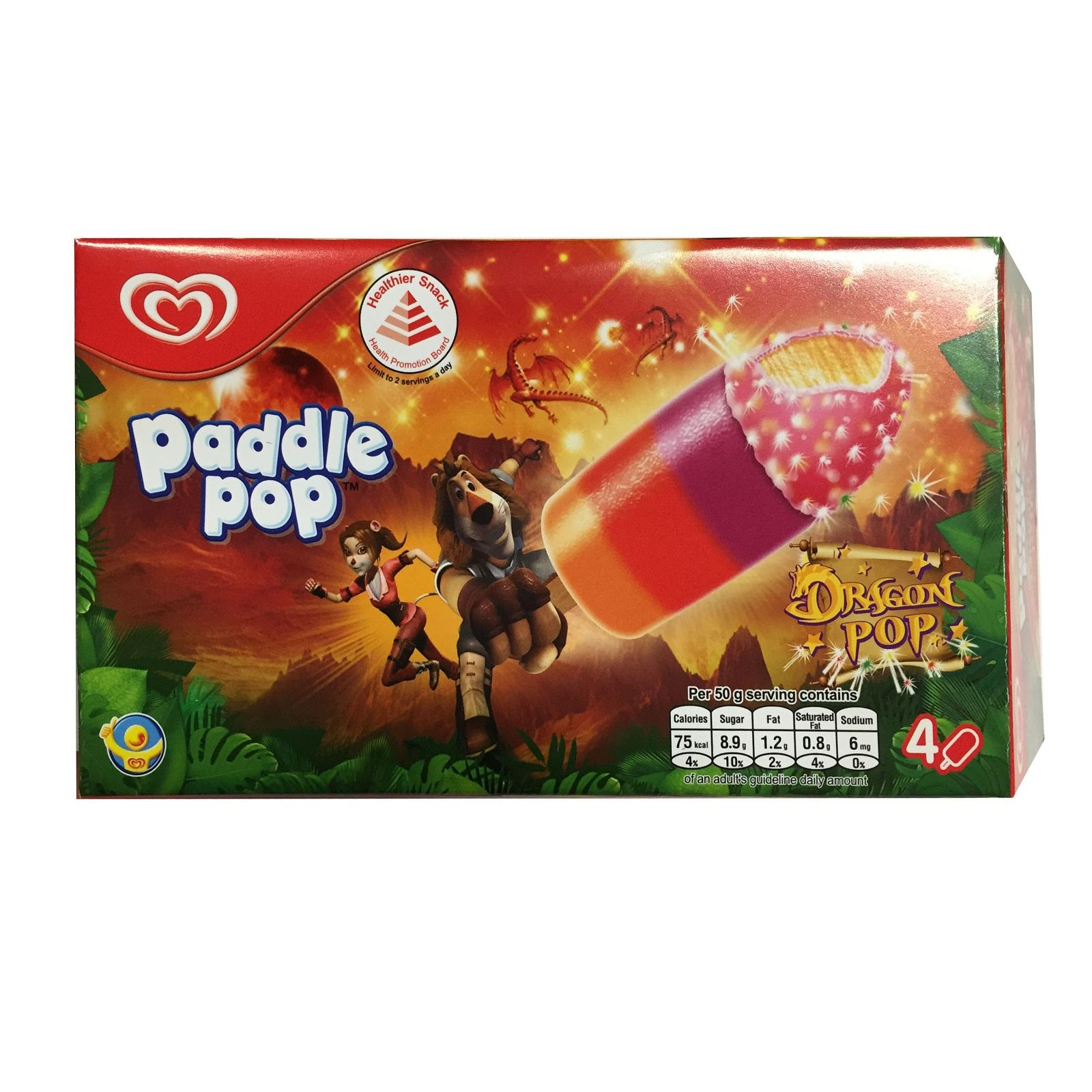 Paddle Pop Dragon Pop Multipack Ice Cream (4 sticks)