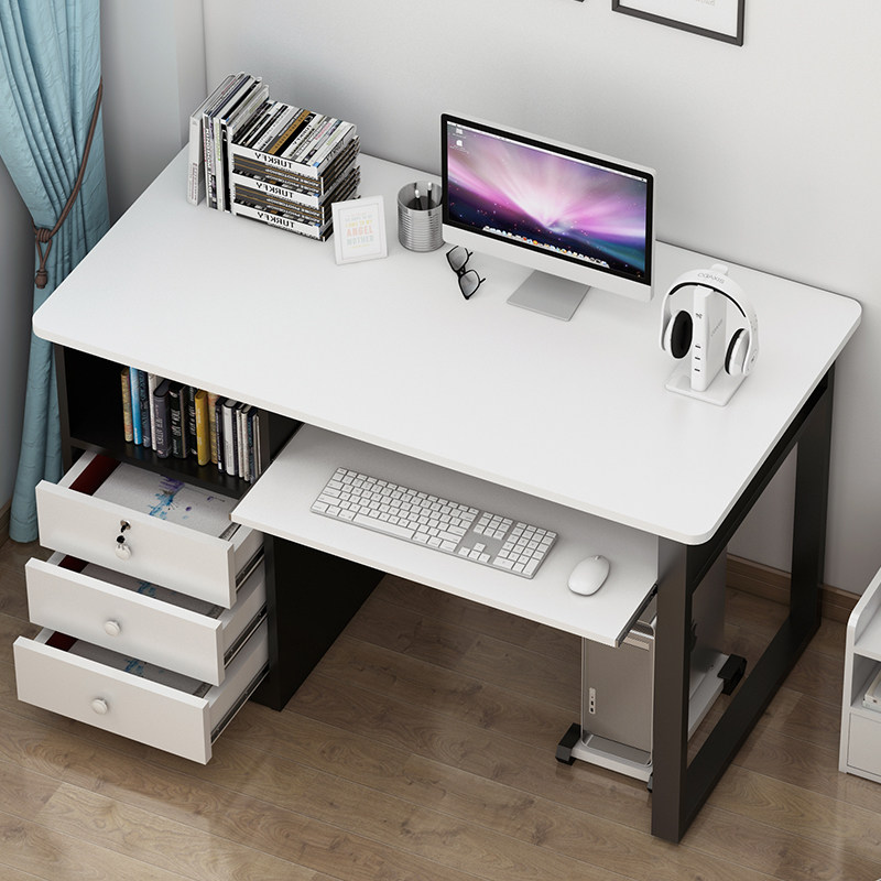 Home Office Study Desktop Computer PC Writing Table with Drawer Cabinet Storage Laptop Keyboard Shelve Black White Walnut Coffee Brown 1m, 1.2m 100cm 120cm