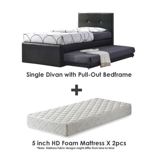 [A-STAR] 3 IN 1 Bed frame + Pullout  with Mattress