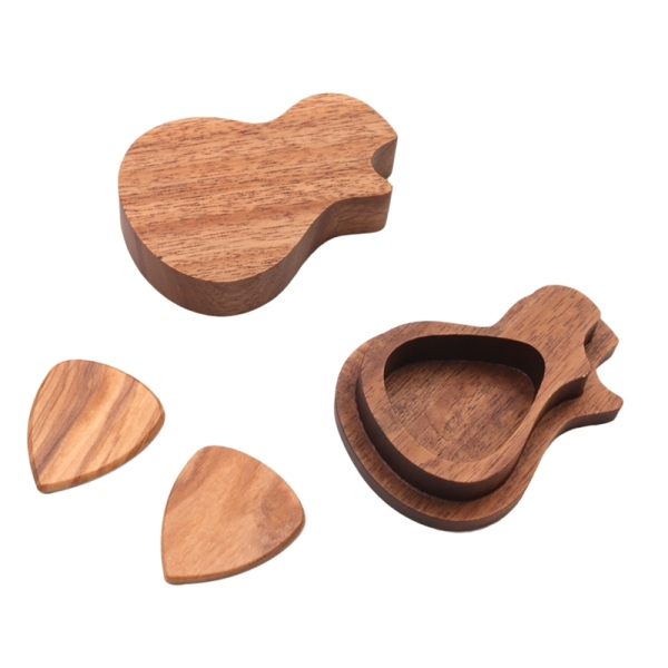 Guitar Picks Kit Wooden Storage Box + 2PCS Guitar Picks for Guitarist