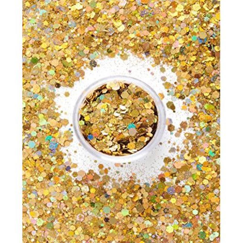 Buy SoJourner Bags Chunky Cosmetic Holographic Body Glitter – Nail, Hair, Face & Body Glitter  Festival Rave Accessories by SoJourner (Golden Goddess) Singapore