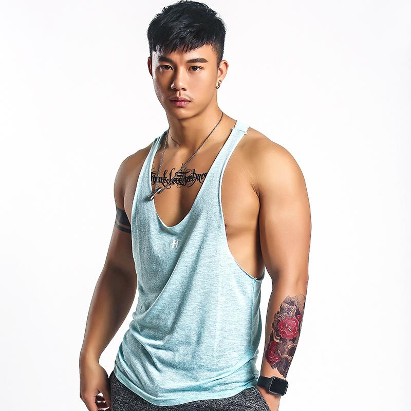 Mr.hui Summer New Vest Male Solid Color Fitness Low-Cut Solid Printed Tank-Top Slim Fit Sports Casual Thin By Taobao Collection.