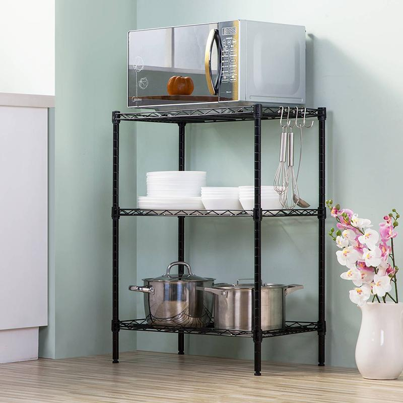 Heart·traeh la casa yi Storage Shelf Landing Kitchen Bathroom Storage Rack Organizing Rack Metal Storage Rack Three-level Stand