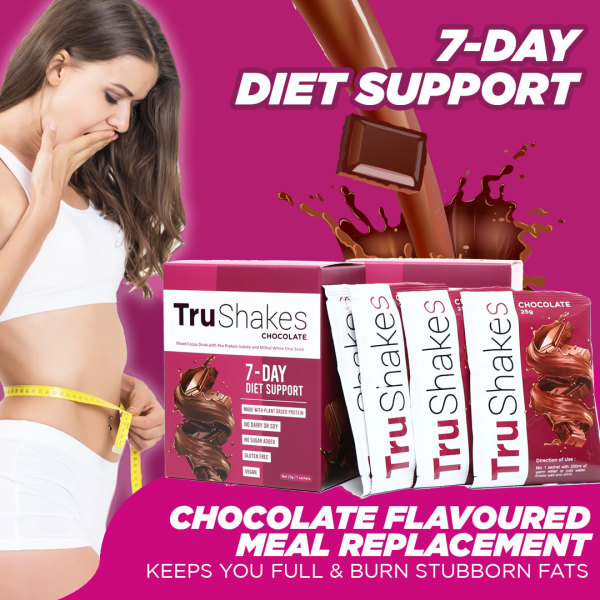 Buy TRUSHAKES 7-DAYS DIET SUPPORT, Chocolate Flavoured Meal Replacement Drink, Mixed Cocoa Drink with Pea Protein Isolate and Milled White Chia Seed, No Dairy, Soy or Sugar, Gluten-Free, Vegan, Weight Management and Weight Loss Support - Tashkila Singapore