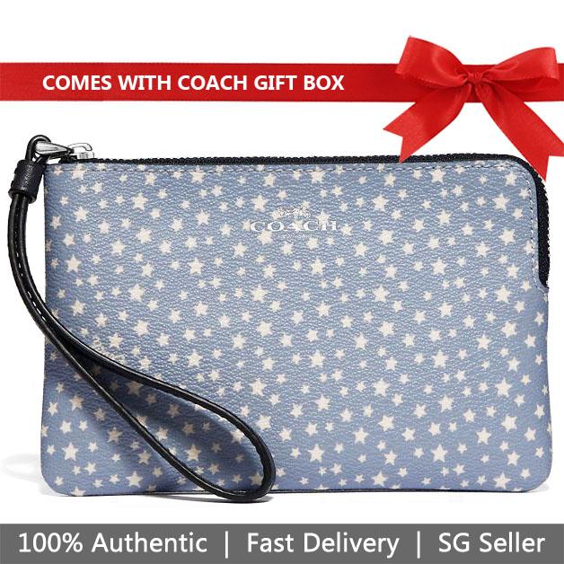 Coach Wristlet In Gift Box Small Wristlet Corner Zip Wristlet With Ditsy Star Print Blue Multi / Silver # F67613