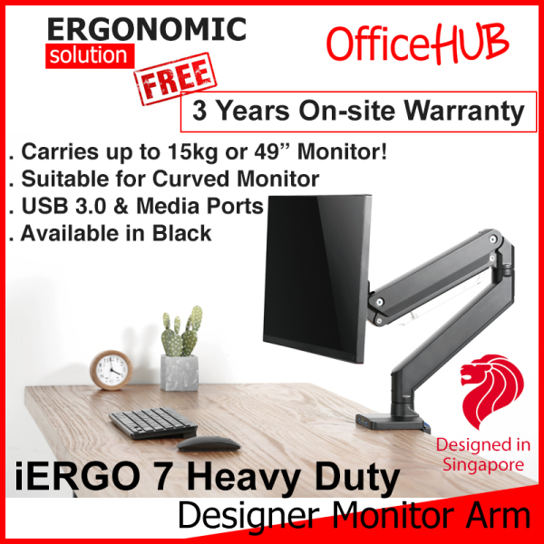 iErgo 7 Heavy Duty Single Monitor Arm ★ Fits Monitor Screens up to 49 Inch and 15kg ★ USB 3.0 and media ports ★ Monitor Mount Stand ★ Desk stand ★ Ergonomic Stand ★ Table Mount ★ Height Adjustable ★ Clamp Grommet Mount To Desk