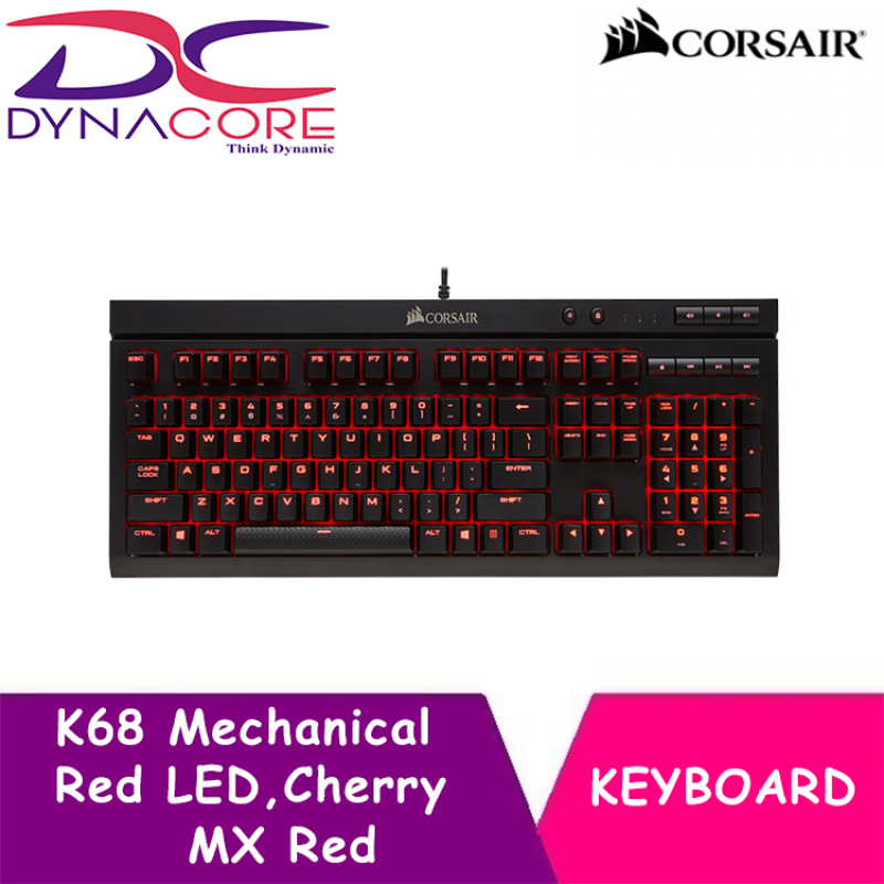 DYNACORE - CORSAIR K68 Mechanical Gaming Keyboard,Red LED,Cherry MX Red (IP32 for dust & water resistance) Singapore