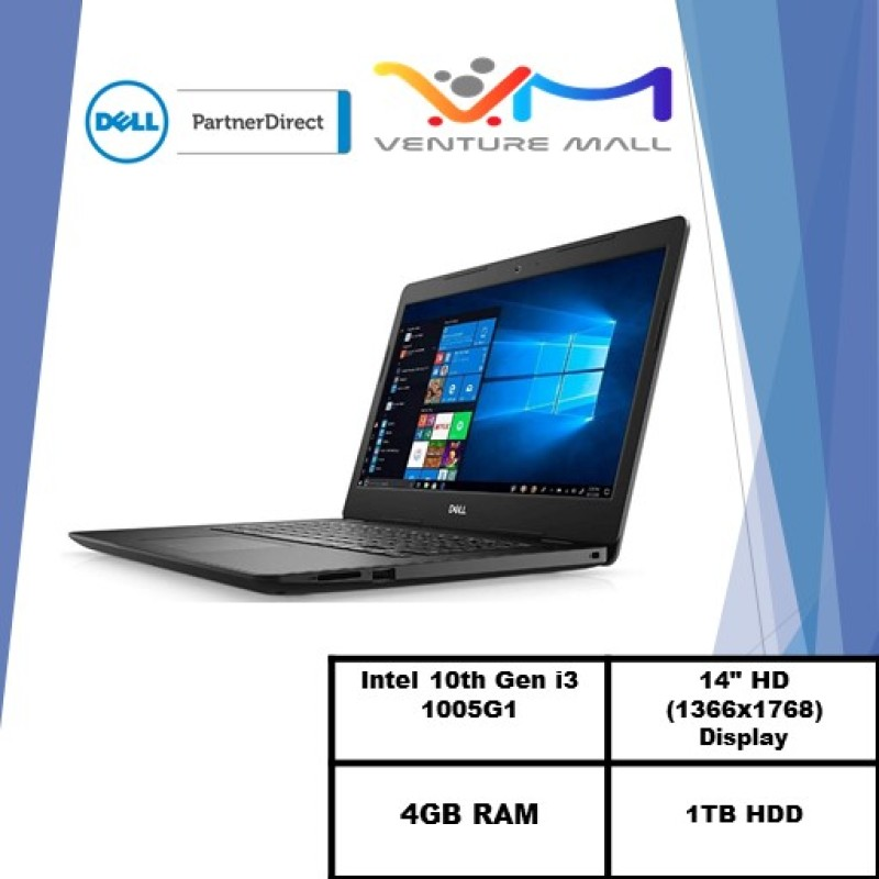 Laptop Dell Inspiron 3493 (READY STOCK)-i3 1005G1/14.0-inch HD (1366 x 768)/4GB OR 8GB RAM/1TB HDD OR 128GB SSD/Win10