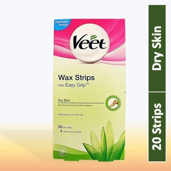 Buy Veet Wax Strips with Easy Grip For Dry Skin (Aloe Vera & Lotus Flower Fragance, 20 Strips) Singapore