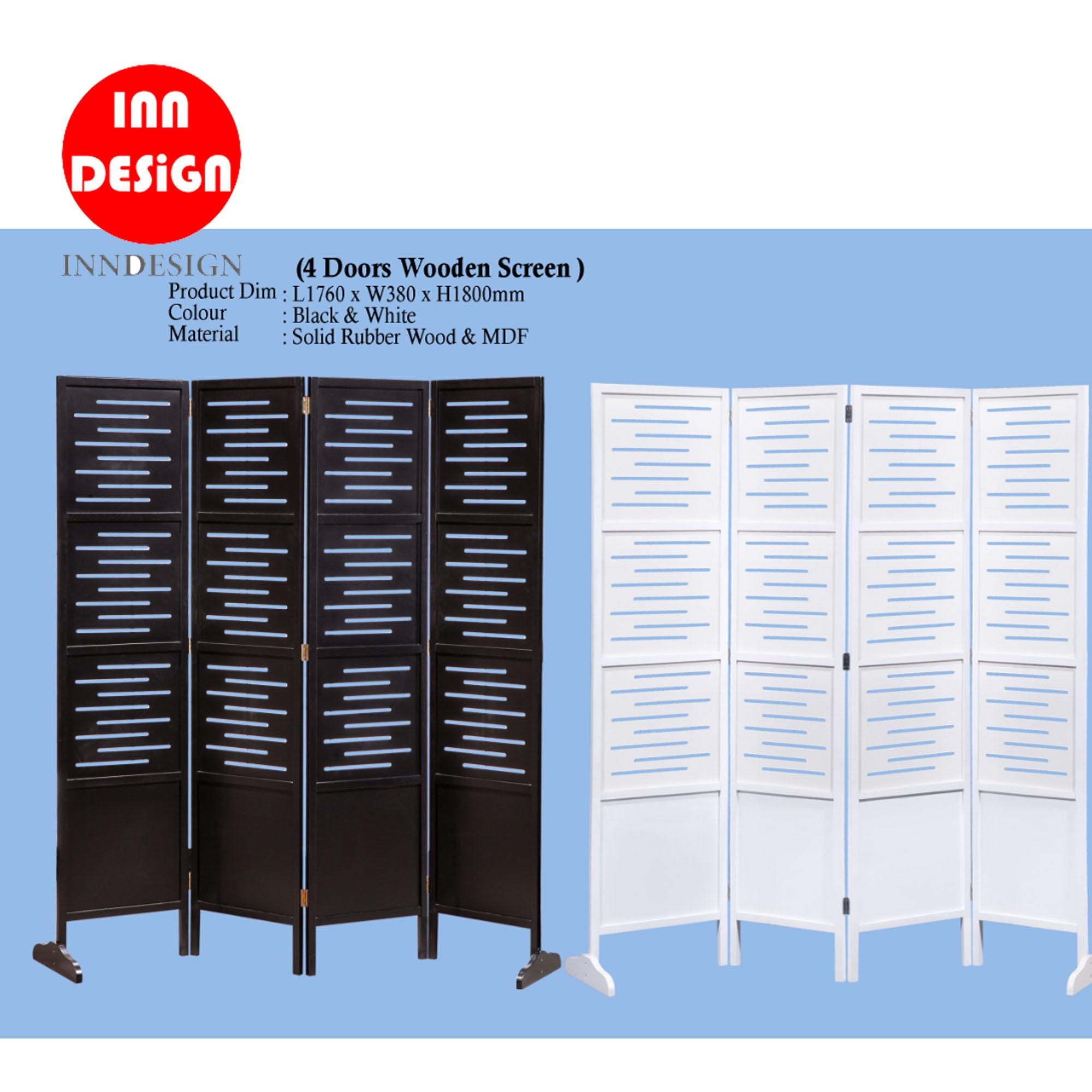 Japanese Design Solid Rubber Wood 4 Doors Room Divider / Partition / Screens