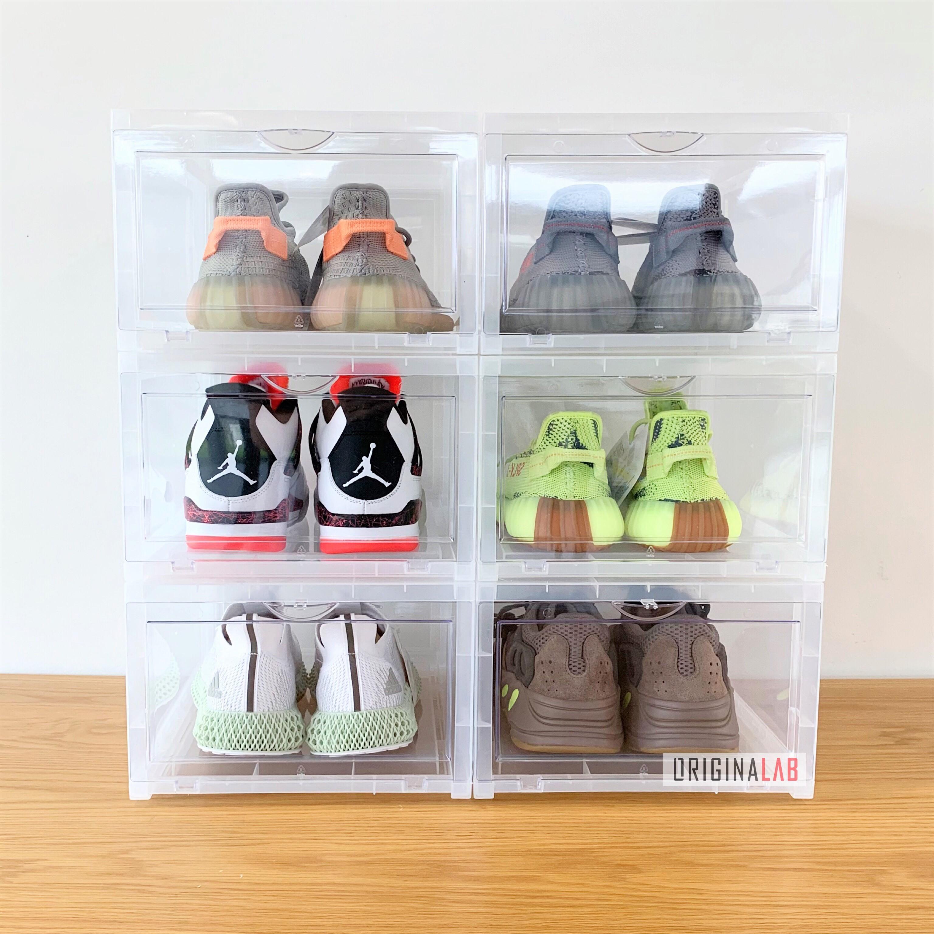 6 BOXES - ORIGINALAB Premium Stackable Shoe Box Clear HOT SALE