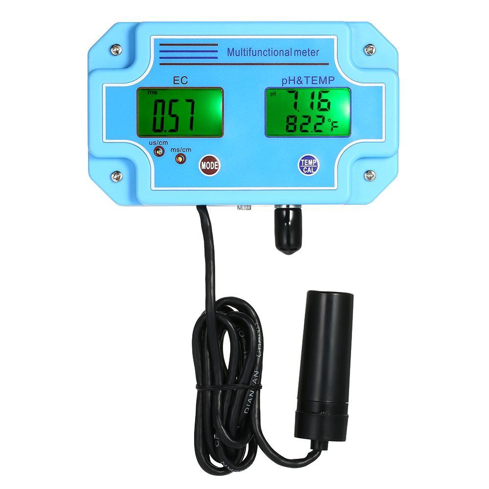 Professional 3 in 1 pH/EC/TEMP Meter Water Detector Multi-parameter Digital LCD Tri-Meter Multi-function Water Quality Monitor Multiparameter Water Quality Tester