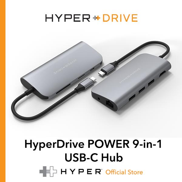 HyperDrive USB-C Hub Adapter for iPad Pro, MacBook Pro/Air, Power 9-in-1 USBC Hub Dongle with 4K HDMI, USB-C PD, Gigabit Ethernet, Audio Jack, 3X USB 3.0, Micro/SD Card Slots