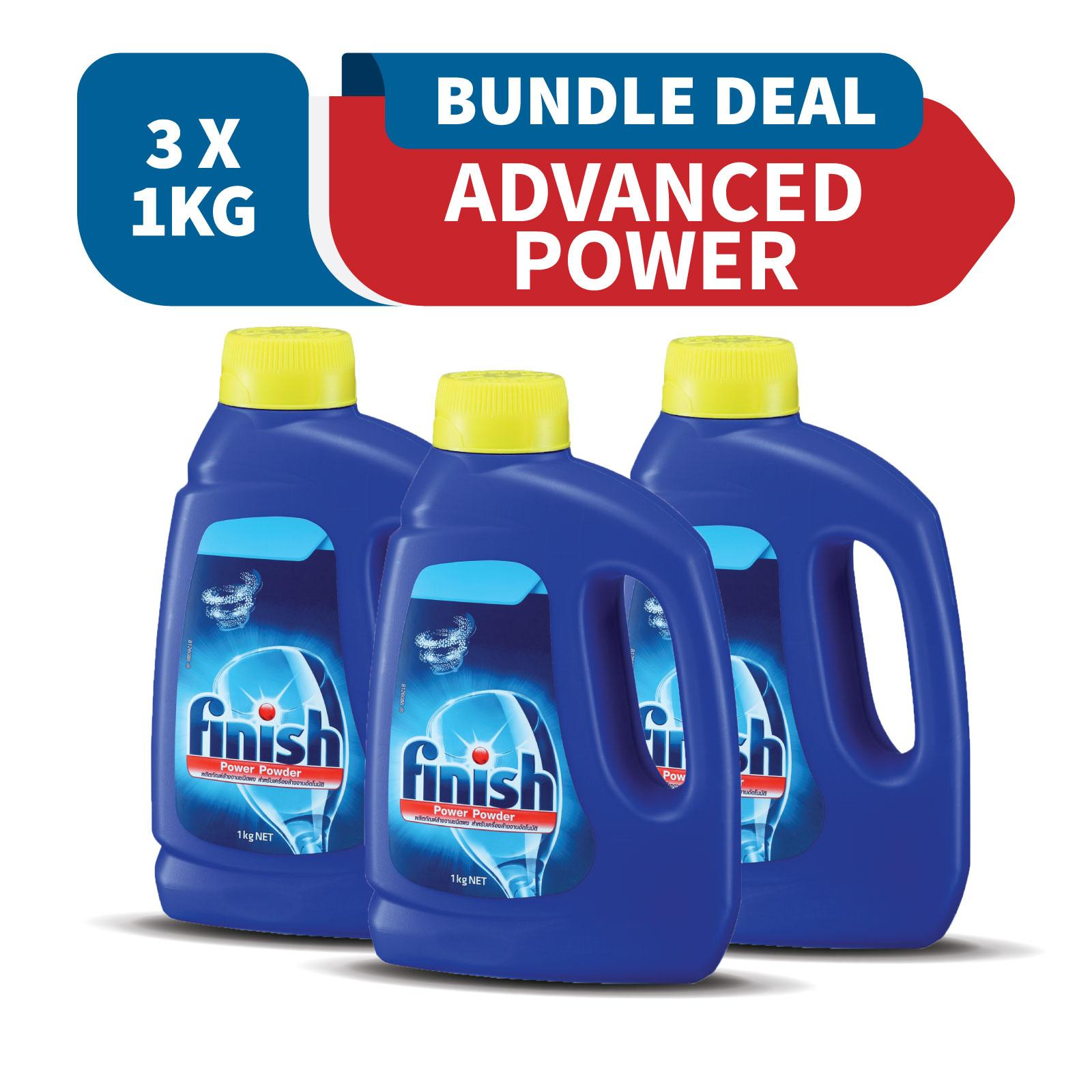 Finish Advanced Power Powder Detergent Dishwashing Cleaner 1kg X 3 By Rb Home.